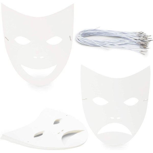 """48 Pack Blank DIY Paper Masquerade Mask with Elastic Band, 8.7"""" x 10"""" White. Opens flyout."""