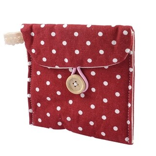 Lady Soft Cotton Blends Polka Dots Sanitary Pad Holder Bag Burgundy White
