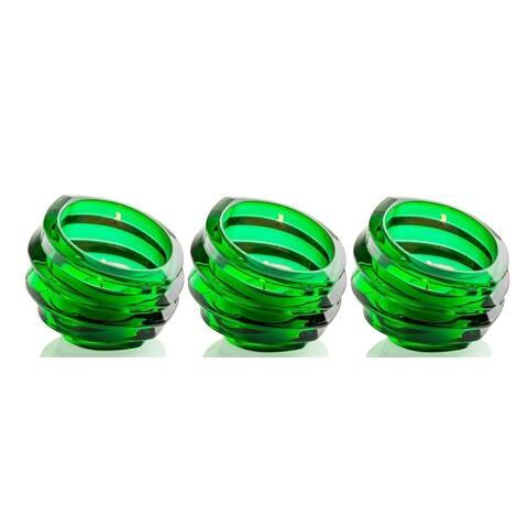 3 Pack Orrefors Eko Crystal Votive Glass Tealight Candleholder - Green Candy Dish - Green Candy Dish