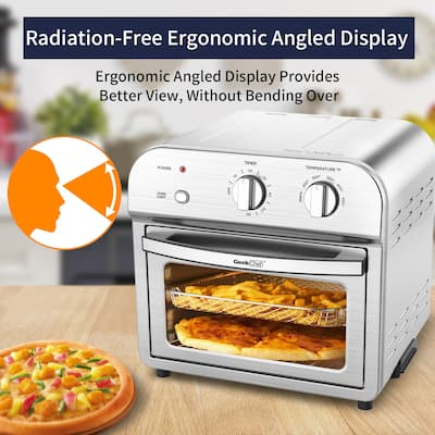 Global Pronex 11qt Air Fryer Toaster Oven, 10 capacity mechanical with two knobs metal housing, 1500w - Silver
