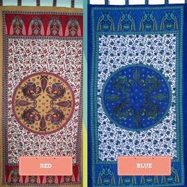 Handmade 100% Cotton Peacock Tab Top Curtain Door Panel Drape Red Blue Gorgeous