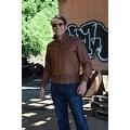 Mens Bomber Leather Fashion Jacket Brown FJ3 - Thumbnail 5