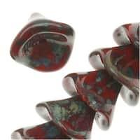 Czech Glass Beads Three Petal Flower 12mm Opaque Red/Picasso (12)