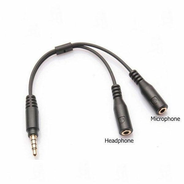 Protable 3.5mm Stereo Audio Male To 2 Female Headset Mic Trrs Y Splitter Adapter Digital Cables Accessories & Parts