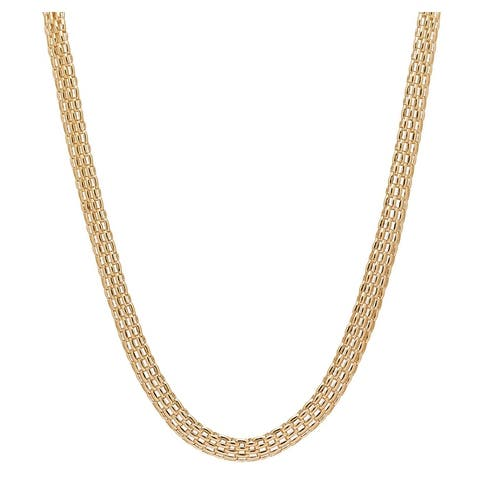 BRONZORO 18 K Gold Plated over Bronze Pantera Link Necklace