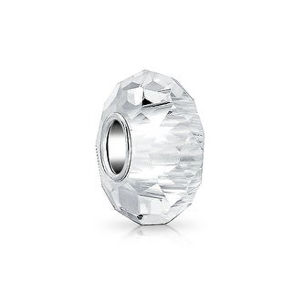 Bling Jewelry Clear Faceted Crystal Imitation glass Charm Bead .925 Sterling silver