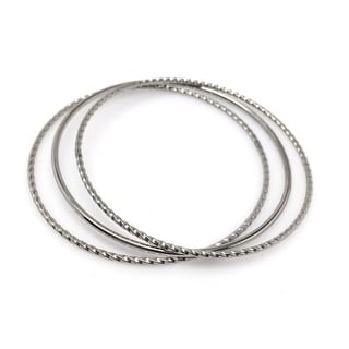 Loralyn Designs Stainless Steel Mixed Stacking Bangle Bracelet Set for Women (Set of 3) - Silver