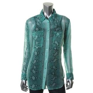 Equipment Femme Womens Button-Down Top Silk Snake Print - xs