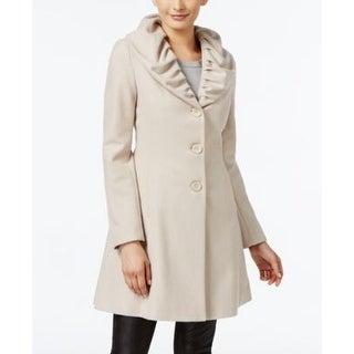 T Tahari Ruffled Skirted Walker Coat Macrame Medium