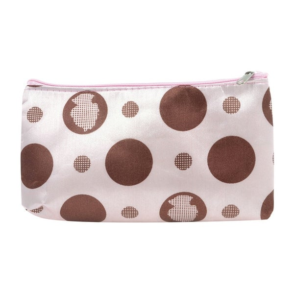 Unique Bargains Brown Purple Coffee Color Dotted Pattern Zip Up Wrist Wallet Purse Pouch