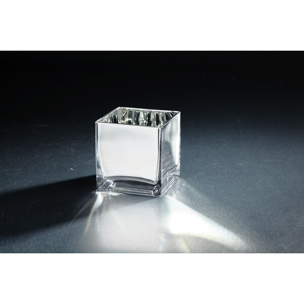 "4"" Silver Colored Square Hand Blown Glass Tea Light Candle Holder - N/A"