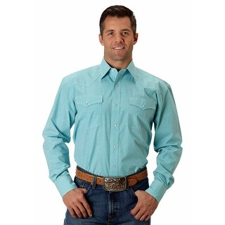 Roper Western Shirt Mens L/S Gingham Blue