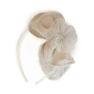 Isobella & Chloe Girls Ivory Bow Tulle Pearls Headband