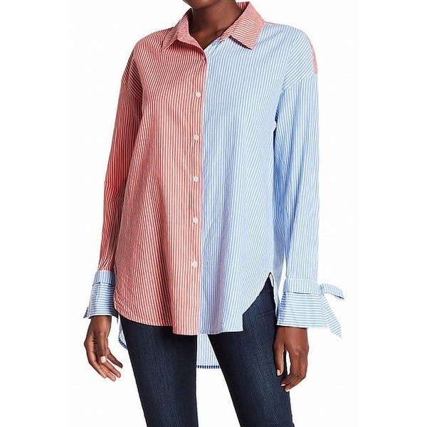 221726e6 Shop Abound Blue Red Women's Size Medium M Striped Button Down Shirt - Free  Shipping On Orders Over $45 - Overstock - 22022664