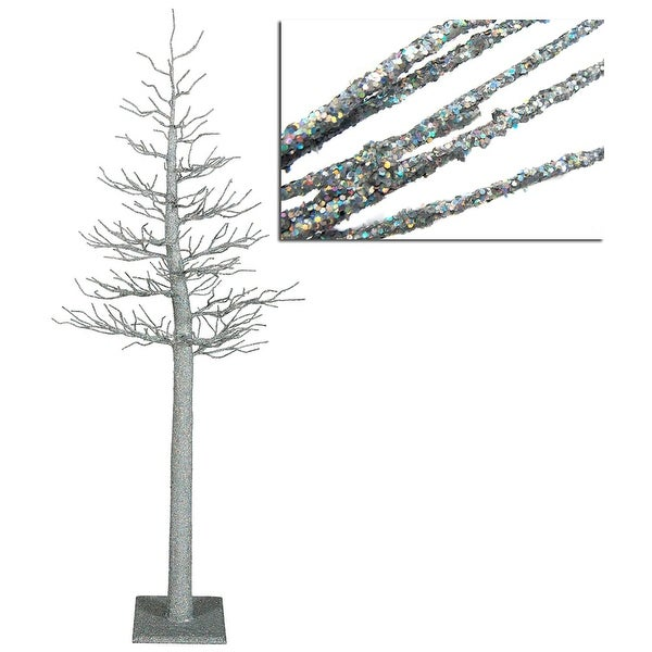 4' Silver Glitter Metallic Artificial Christmas Display Tree