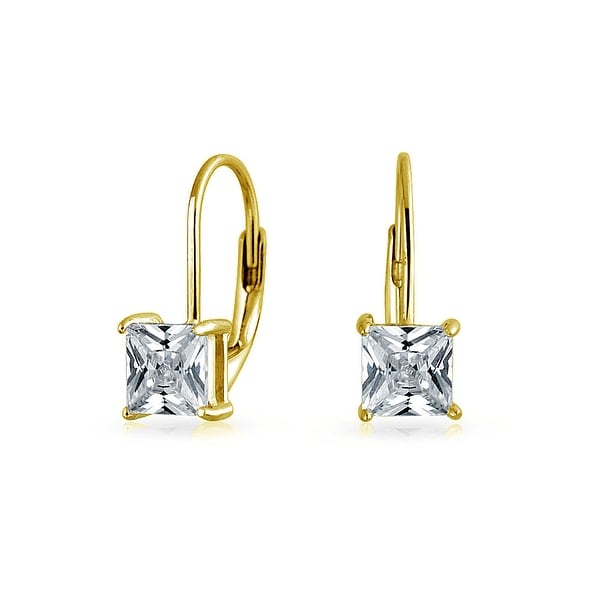 Bling Jewelry Gold Plated 925 Silver Princess Cut Cz Leverback Earrings