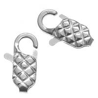 Silver Plated Diamond Embossed Lobster Clasps 14mm (10)