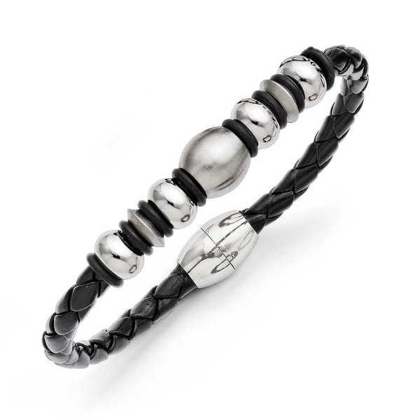 Chisel Stainless Steel Leather Brushed and Polished Bracelet