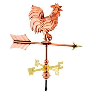 "21"" Handcrafted Polished Copper Proud Rooster Outdoor Weathervane with Roof Mount"