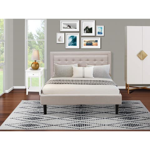 Fannin Queen Bed Set with Modern Bed and a Bedroom Nightstand - Mist Beige Linen Fabric - ( End Table Piece Option )