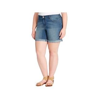 Jessica Simpson Womens Plus Mika Best Friend Denim Shorts Medium Wash Raw Hem - olympia - 16W