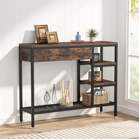 Sofa Console Table with Drawers, Rustic Industrial Entry Table with Shelves