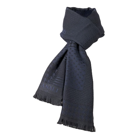 Canali Navy Blue Pattern Patchwork Weave Pure Wool - 22.5-78