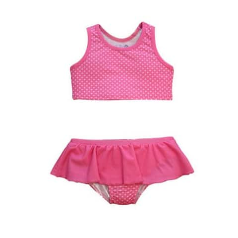 Baby Girls Pink Pinned Print Karina Ruffle Skirt 2 Pc Bikini Swimsuit