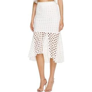 Aqua Womens Flounce Skirt Lace Laser Cut