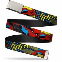 Marvel Comics Blank Chrome  Buckle Spider Man Ffffftttt Webbing Web Belt - S