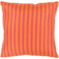 "20"" Sunbrella Sunny Orange and Pink Striped Indoor/Outdoor Decorative Throw Pillow"