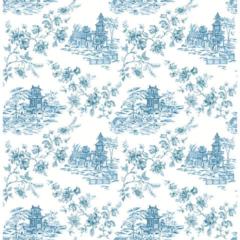 Zelda, Laure Blueberry Toile Wallpaper