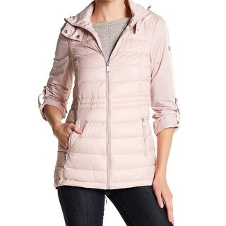 BCBG Generation NEW Pink Womens Size Large L Hooded Quilted Jacket