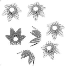 Silver Plated Beaded Six Petal Flower Bead Caps - 6mm (50)