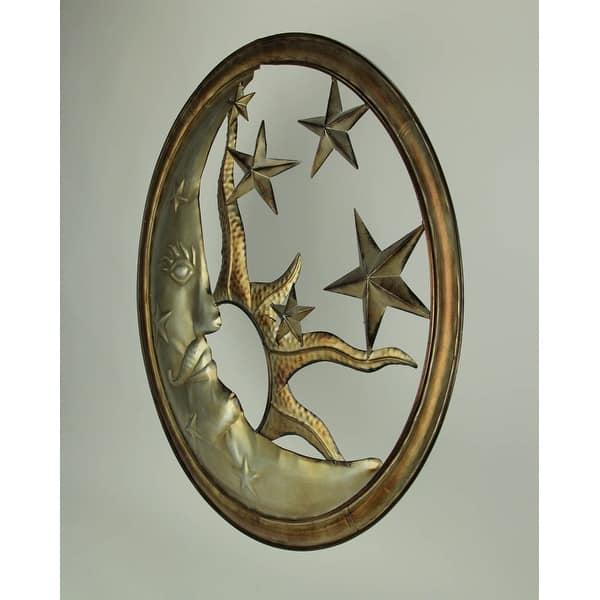 Antique Silver Metal Art Sun Moon