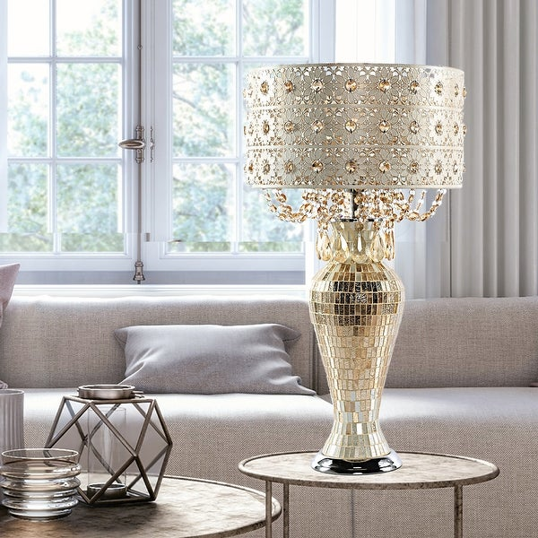"""River of Goods Solvang Jeweled Metal/Mosaic Base Cascading Crystal Table Lamp - 14""""L x 14""""W x 25""""H. Opens flyout."""