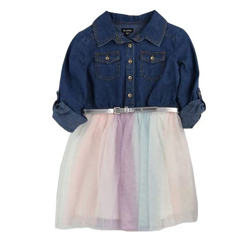 Zunie Girl's Dress Belted Denim Button-Up Tulle-Skirt