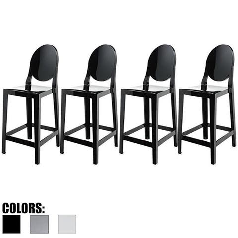 """2xhome Set of 4 Black Modern 25"""" Seat Bar Stool Counter Height with Back Plastic Chairs Home Restaurant Kitchen Patio Garden"""