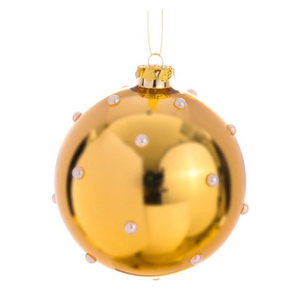 """4.75"""" Glamour Time Exquisite Pearl Beaded Shiny Gold Christmas Glass Ball Ornament"""