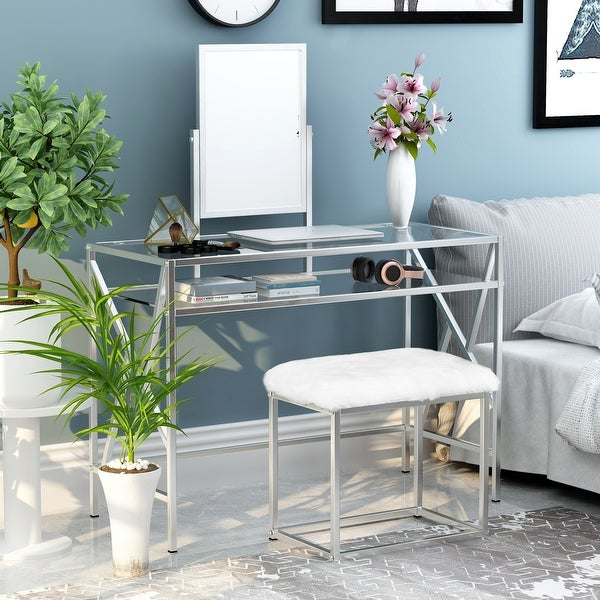 Silver Orchid Pontoppidan 2-piece Vanity Table Set. Opens flyout.