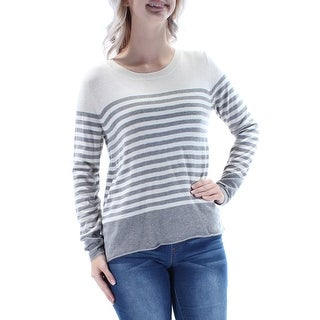 JOIE $328 Womens New 1560 Gray Ivory Striped Crew Neck Long Sleeve Top S B+B
