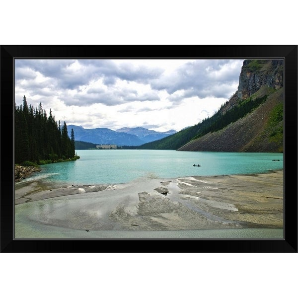 """A cloudy day at Lake Louise"" Black Framed Print"