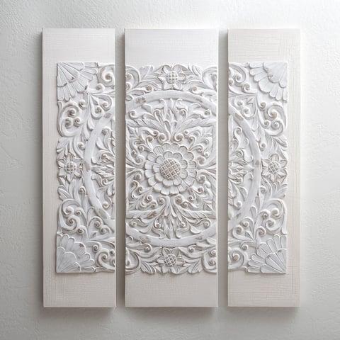 Madison Park Off White Mandala 3D Embellished Canvas 3 Piece Set - Off White