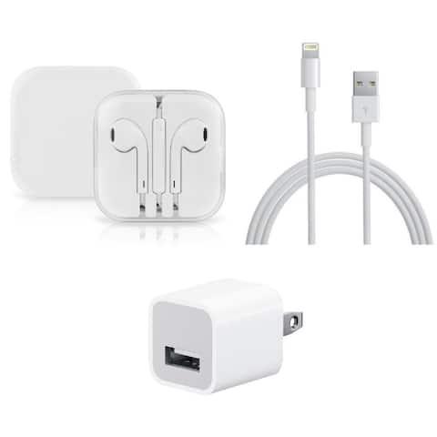 Apple iPhone 1M Lightning Cable, Wall Adapter Cube & Earpod Kit, Bulk Packing - White