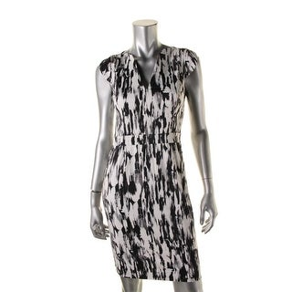 French Connection Womens Ripple V-Neck Casual Dress