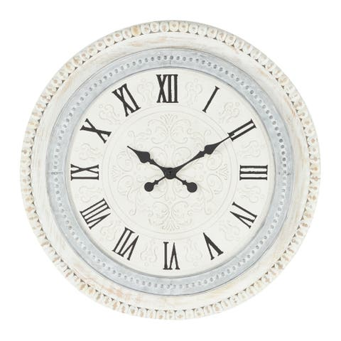 """Round Distressed White And Grey Wood Wall Clock With Beaded Textured Rim, 22"""" X 22"""" - 22 x 1 x 22Round"""