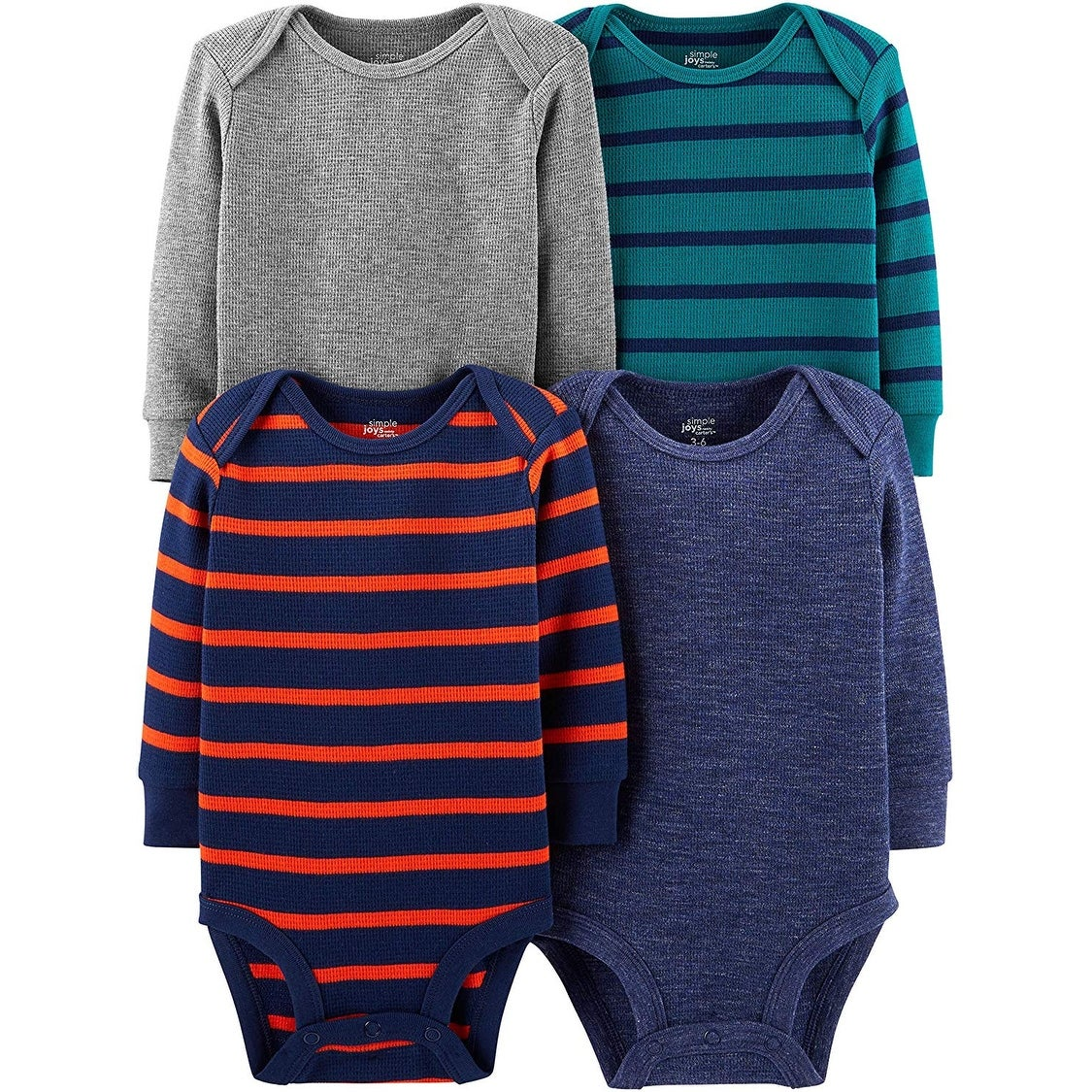Simple Joys by Carters Baby-Jungen 4-Pack Soft Thermal Long Sleeve Bodysuits 4er-Pack
