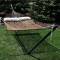 Sunnydaze 2-Person Polyester Rope Hammock with Spreader Bars and Pillow - Hammock Stand Included - Thumbnail 11