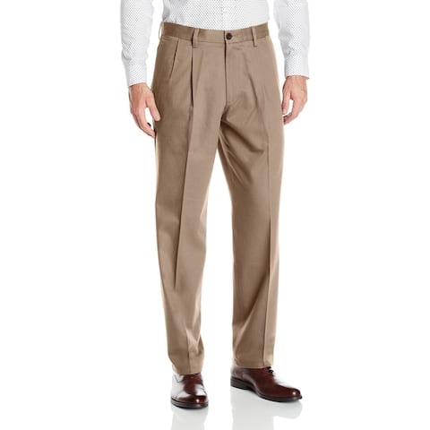 Dockers Mens Khaki Pants Beige Size 42x30 Classic Fit Pleated Stretch