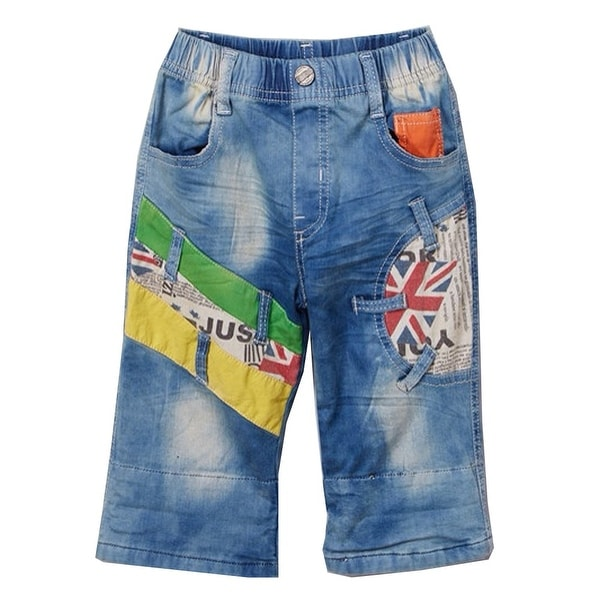 Rock'nStyle Baby Boys Light Blue Colorful Patches Pockets Denim Pants - 18-24 months